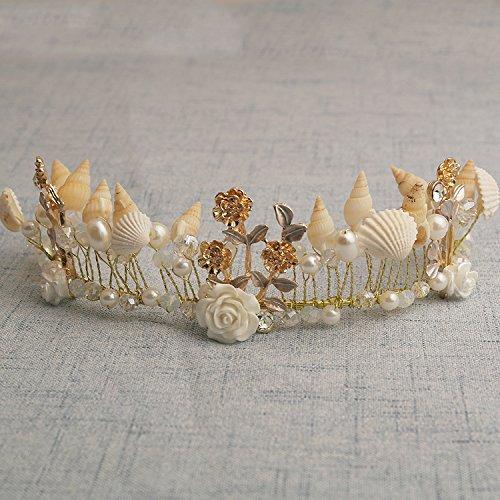 Quantity 1x Bridal jewelry hand Headdress_conch_ pearl_shells_ beaded Crown Tiara Party Wedding Headband Women Bridal Princess Birthday Girl Gift_western_ Bridal_styling_ Hair Ornaments_Modify