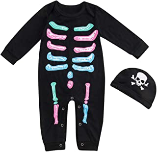 Sameno Infant Baby Boys Girls Clothes Halloween Cotume Sets Bone Print Romper Cute Hat Outifts for Newborn 0-24 M