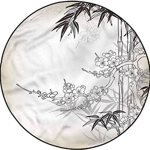 Bamboo Tree Geometric Pattern Rug Washable Non-Skid Bath Mat Japanese Floral Artful Diameter 41 in(104cm)