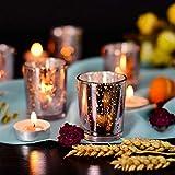 Supreme Lights Glas Teelichthalter 12er Set, 5.2x6.6cm, Gefleckter Teelichtgläser Geschenk Kerzenhalter Deko für Geburtstag, Party, Hochzeit, Feier, Haushalt, Gastronomie (Rosegold) - 6
