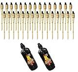 Moritz, 30 fiaccole di bambù Deluxe 90 cm standard naturale + 2 x 1000 ml di olio per lampada da giardino