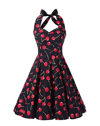 MISSMAO Donna Paragrafo Halter Stile Hepburn retrò Anni 50 Abito Abiti Chintz Slim Skirt Stile Pastorale Vintage Vestito M Navy & Ciliegia