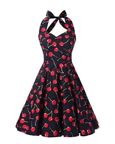 MISSMAO Donna Paragrafo Halter Stile Hepburn retrò anni '50 Abito Abiti Chintz Slim Skirt Stile Pastorale Vintage Vestito M Navy & Ciliegia