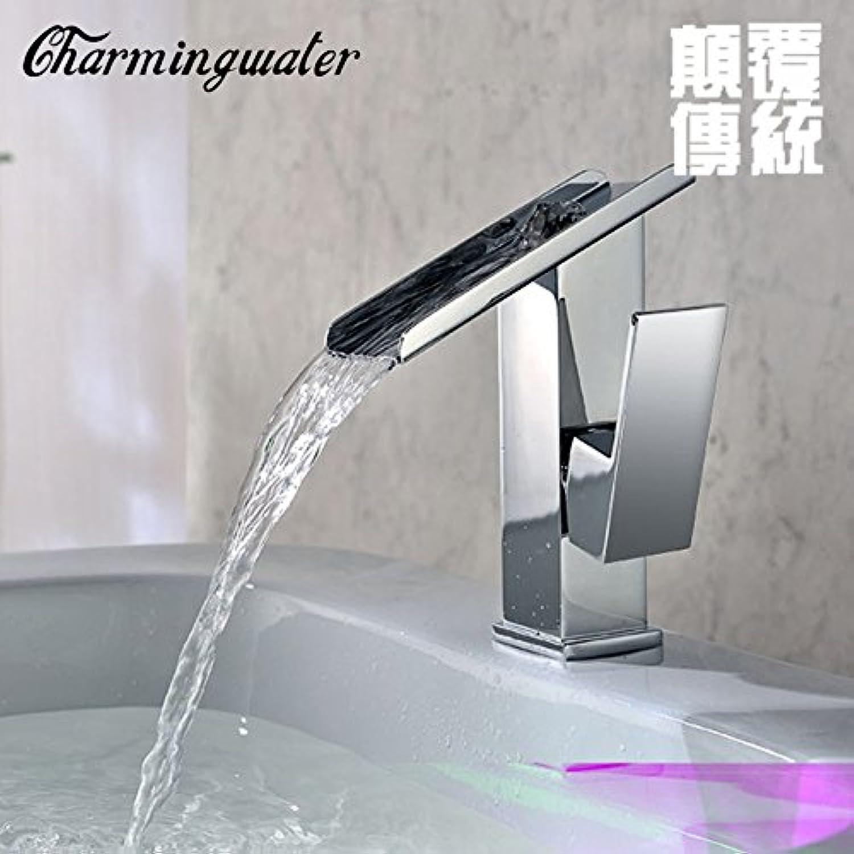 LHbox Kreative Wasserfall Waschtischmischer heie und Kalte Voll Kupfer Waschbecken Armaturen Einloch Waschbecken Wasserhahn, Niedrig)