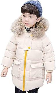 [リュハイ] ダウンジャケット 子供服 男の子 毛襟 フード付き ダウン ロング コート カジュアル 厚手 防寒 中綿コート