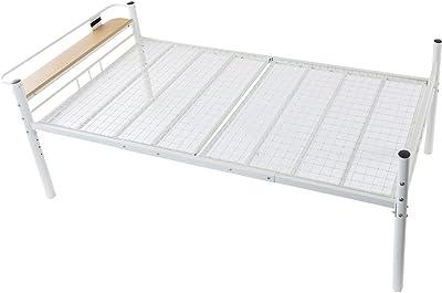 アイリスプラザ ベッド シングル 高さ4段階調節 コンセント 2口 宮棚 棚付き メッシュ床板 通気性 ホワイト HAPD-S