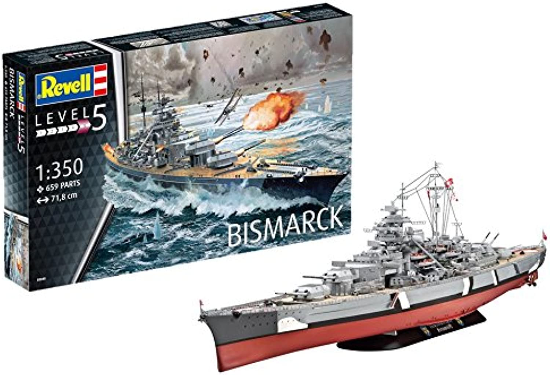 Revell 05040 14 Modellbausatz Bismarck im Mastab 1 350, Level 5