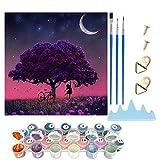 YLXQJIN Kit de pintura por números para adultos, pintado a mano al óleo, para regalo, pintura por números para principiantes y niños, para decoración del hogar, color morado y luna, 40 x 40 cm