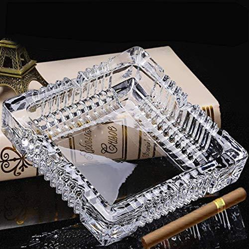 Cuadrado de cristal Cenicero for Cigarrillos Cigarros, 7 pulgadas grande Cenicero Hombres cubierta uso en exteriores, fumadores titular de la ceniza por Fumador Patio Restaurante Oficina de mesa decor