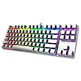 PICTEK Gaming Keyboard, Rainbow LED Backlit Keyboard Computer PC Mac Laptop Wired Gaming Keyboard, 26 Keys Anti Ghosting Ergonomic Wrist Rest Waterproof Keyboard for Gamers Typists