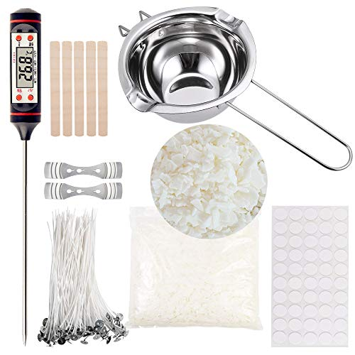 Home DIY Candle Making Kit, Full Starter Set with Double Spouts Pot, Soy Wax, 50 Candle Wicks, 50 Wax Stickers, 2 Candle Wicks Holders,Thermometer and 5 Stirring Sticks