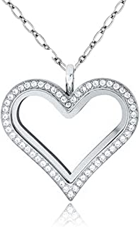 Cory Keyes Heart Round Guitar Glass Locket Necklace for Living Memory Floating Charms