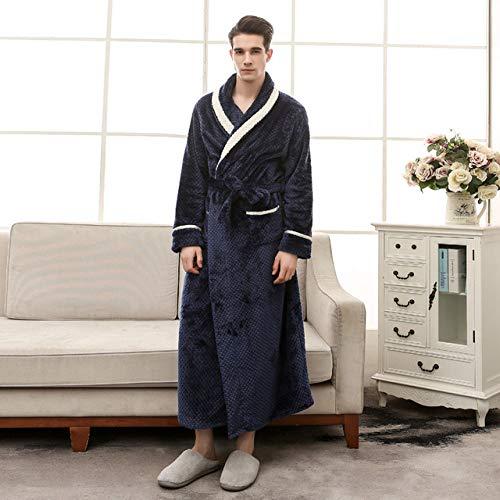 DHFNMG Badjas, nieuwe vrouwen Winter Warm Lange Bad Robe witte strepen kraag Lovers Kimono Badjas, Mannen Dressing Jurk Bruid Bruiloft Robes