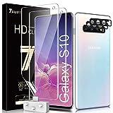 TAURI 4 Pack Samsung Galaxy S10 Protector de Pantalla(NO Vidrio),2 Pack HD Película de TPU y 2 Pack Protector de Lente de cámara, Doble Protección - Huella Digital Ultrasónica Fácil de Instalar