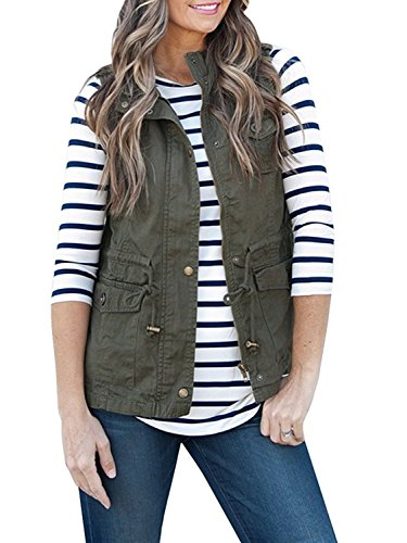ThusFar Women's Lightweight Sleeveless Drawstring Military Anorak Jacket Vest with Zipper Army Green S
