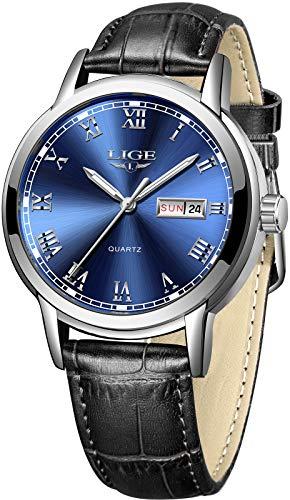 LIGE Reloj para Hombre Analógico Cuarzo Cuero Negro Reloj Masculino Impermeable Azul Redonda Calendario Gents Vestido Relojes de Pulsera