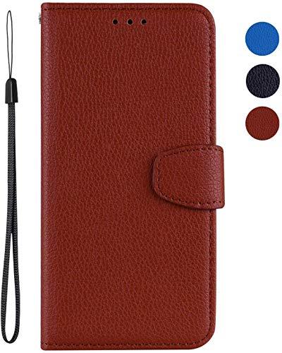 vingarshern Hülle für LG K5 Schutzhülle Tasche Klappbares Magnetverschluss Flip Hülle Lederhülle Handytasche LG K5 Hülle Leder Etui Brieftasche(Braun) MEHRWEG