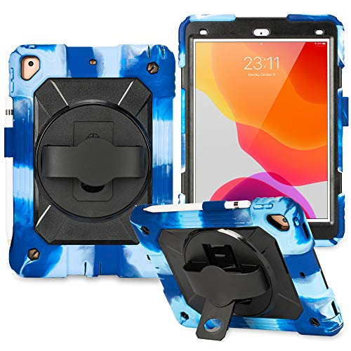 New iPad 7th Generation Case iPad 10.2 Case 2019 Heavy Duty Shockproof Protective Case with 360 Degree Rotating Kickstand & Pencil Holder for iPad Pro10.5/ Air 3rd 2019/iPad 7th Gen 10.2