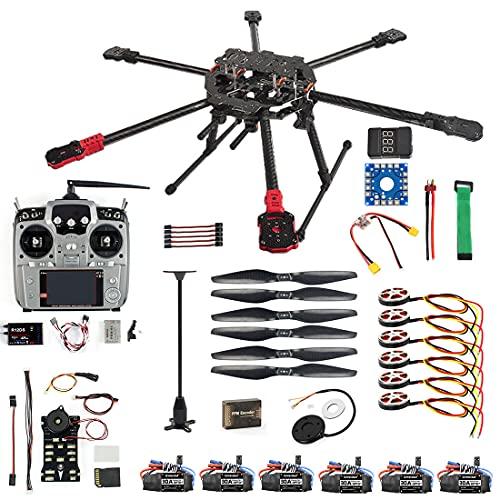 QWinOut ARF/PNP Full Set Hexacopter DIY Drone Kit Tarot 690mm Frame with 750KV Motor GPS PIX 2.4.8 32 Bit Flight Controller (PNP)