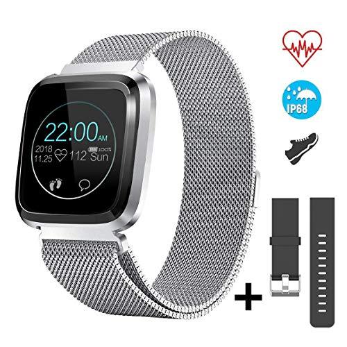 CatShin Smartwatch Android/iOS con Pulsómetro,CS08 Pulsera Actividad Reloj Deportivo Inteligente con Impermeable IP68 Cronómetro,Monitor de sueño,Podómetro,Notificación de Mensajes por Mujer