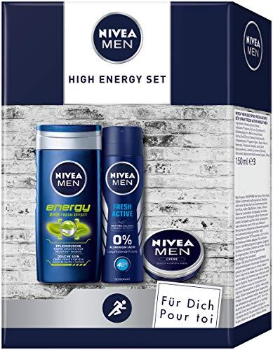 NIVEA MEN High Energy Pflegeset, Geschenk für Männer mit Deodorant, Pflegedusche und Hautpflege Creme, Set für den gepflegten Mann