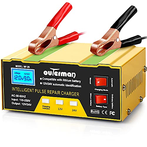 Outerman Car Battery Chargers 12V 24V Lithium Motorcycle Battery Charger, Automatic Smart Battery Maintainer for Car Boat Motorcycle Lawn Mower Lead Acid Battery or Lithium Battery Capacity: 6AH~105AH