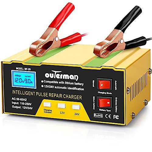 Outerman Cargador de batería de coche 12 V 24 V batería de litio, mantenedor de batería inteligente automático para coche barco, motocicleta, cortacésped, etc.