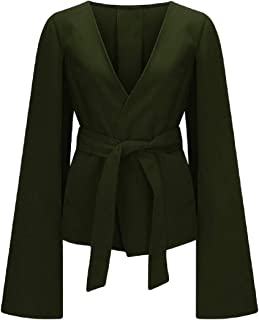 Womens Label Elegant Belted Mid Long Sleeve Outwear Winter Coat Outwear Jacket Cloaks
