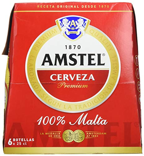 Amstel Cerveza - 4 Packs de 6 Botellas x 250 ml - Total: 6 L