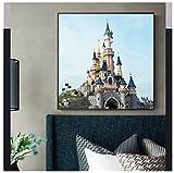 Cuadro en lienzo Sleeping Beatuty Castle Disneyland Paris Arte de la pared para la decoración de la sala de estar Parque de atracciones Cartel de la habitación de los niños -50x75cm Sin marco