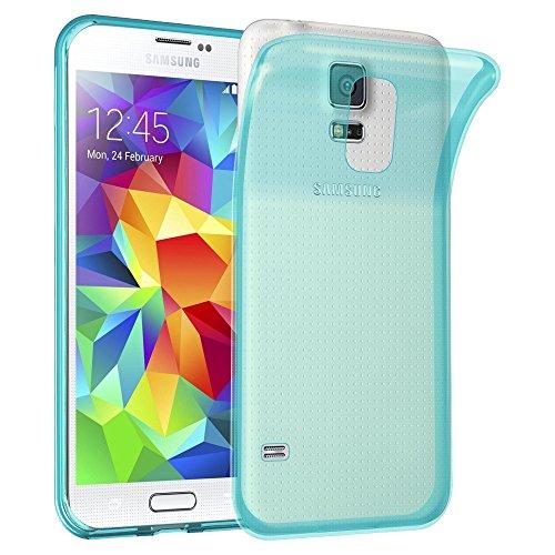 Cadorabo Funda para Samsung Galaxy S5 / S5 Neo en Transparente AZÚL - Cubierta Proteccíon de Silicona TPU Delgada e Flexible con Antichoque - Gel Case Cover Carcasa Ligera