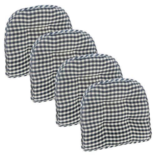 Klear Vu Tufted No Slip Dining Chair Pad Cushion, Set of 4, Gingham Black