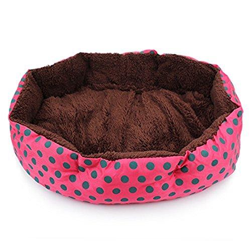 Ecloud Shop® De Petits Points octogonales chenil Velours Super Doux Teddy Fossa Chat Animal nid Rouge