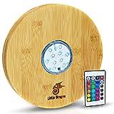 Little Dragon® Posavasos LED para cachimba de 100 % bambú, 22 cm de diámetro, incluye mando a distancia para un ambiente acogedor, base para shisha duradera y resistente, accesorios de calidad prémium