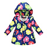 TUDUZ Abrigo con Capucha Bebé Floral A Prueba De Viento Tops Almohadilla Algodón Cazadoras Disfraz Invierno (Azul OscuroD, 130)
