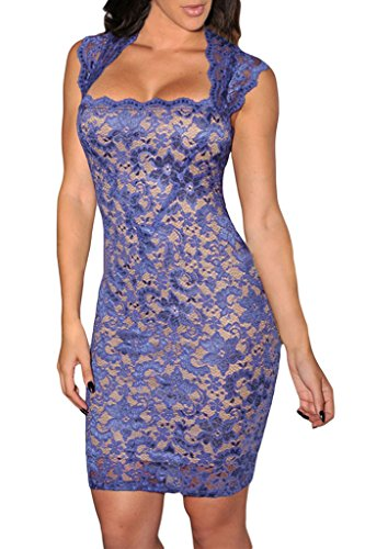 Dearlovers Women Vintage Slim Fit Lace Party Dress Large Size Blue