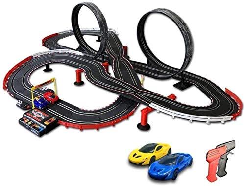 hsj Track Set Runway Taxiway Dual Track Dual Fernbedienung Auto Auto Kinder Elektrische Spielzeug Junge ABS Montage Puzzle LED Lights Straßenlaterne Exquisite Verarbeitung