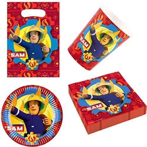 Party-Teufel® Fireman Sam Feuerwehrmann Sam Geschirr-Set 44-teilig Servietten Pappteller Becher Partytüten für 8 Kinder Kindergeburtstag Partygeschirr