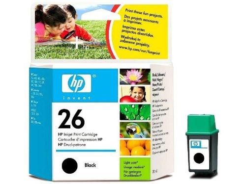 HP Cartucho Negro de inyección de Tinta HP 26 26 Black Inkjet Print Cartridges, De 0 a 40 °C, de -15 a 35° C, 141 x 117 x 37 mm, 0.08 kg (0.176 Libras)
