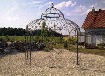 KUHEIGA Stabiler Pavillon Gartenpavillon Metall Verzinkt + pulverbeschichtet Ø 340cm - in schwarz, weiß, grün oder anthrazit