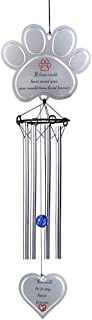 """HMGYGS Pet Memorial Wind Chime, 9"""" Metal Casted Pawprint Wind Chime, A Beautiful Remembrance Gift for a Grieving Pet Owner, Includes """"You Will Be in My Heart Forever"""" Poem Card (Normal)"""