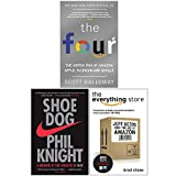 The Four, Shoe Dog A Memoir by the Creator of NIKE, The Everything Store Jeff Bezos and the Age of Amazon 3 Books Collection Set