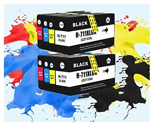 TZZD Cartucho 711XL HP711XL Tinta for HP711 XL for tinta Completo HP T120 T520 Impresora con circuitos integrados CZ133A CZ130A CZ131A CZ132A for HP711XL (Color: 2SET (2BK 2C 2M 2Y))