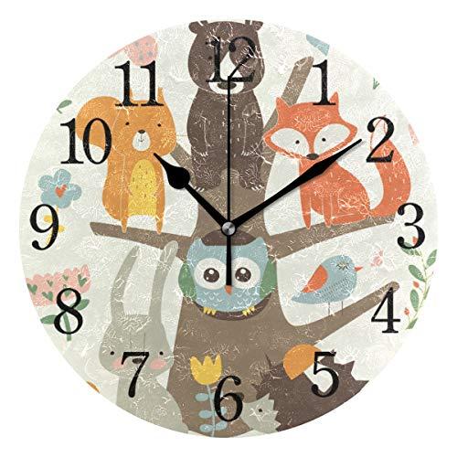 WowPrint Süßes Fuchs Vogel Hase Bär Design Wanduhr Arabisch Ziffer, Leise, Ohne Ticken, Runde Wanduhren, Wohnaccessoires, Wohnzimmer, Badezimmer, Schlafzimmer, Küche, Büro Deko