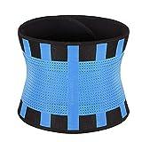 DDHZTA - Cintura da allenamento per la schiena con doppio ventre regolabile per allenamento fitness, blu, L
