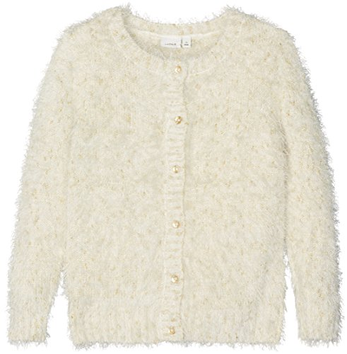 NAME IT Mädchen Nitfebasta Ls Knit Card Mini Strickjacke, Weiß (Snow White), 104