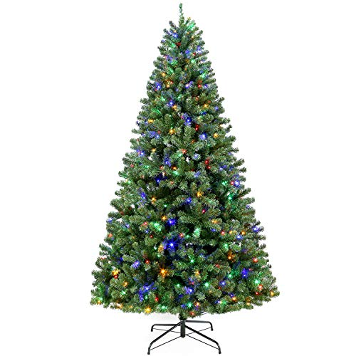 Hykolity 7.5 ft Prelit Artificial Christmas Tree with 400 Color Changing LED Lights, 1400 Tips, Metal Stand and Hinged Branches, 10 Color Modes