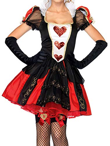 BOLAWOO-77 Damen Gothic Moulin Rouge Corsage Kleid Mit Handschuhe Outfit Mode Vintage Kurzarm Steampunk Gothic Figurformend Schulterfreies Body Shaper (Color : Rot, Size : S)