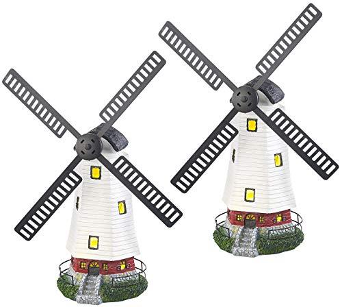 Lunartec Garten-Deko Solar: 2er-Set Solar-Deko-Windmühlen mit drehendem Windrad & LED-Licht (Beleuchtete Solar-Deko-Windmühle)