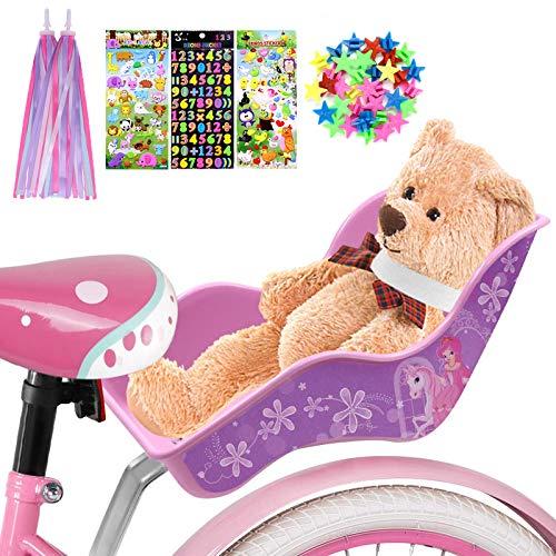 ANZOME Puppen Fahrradsitz Puppensitz für Kinderfahrrad mit Speichenclip Sterne, Aufklebern, Streamer Lenker Bänder, für DIY Puppenfahrradsitz Mädchen Geschenk Set - Prinzessin Pferd